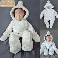 韩版婴儿衣服冬季羽绒服宝宝加厚防寒保暖外出服连体衣新生儿