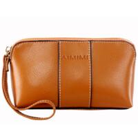 女式复古牛皮零钱包手包拉链包女士手机包手拿包小包包 棕色