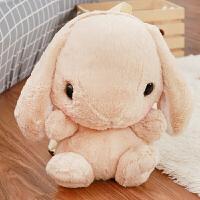 韩版可爱小兔兔双肩包软妹超萌毛绒背包卡通儿童小白兔子毛绒绒包 浅棕色