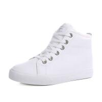 韩版百搭棉鞋女冬季保暖加绒白色短靴女内增高女靴冬