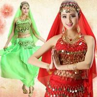 新款肚皮舞套装演出服 小辣椒印度舞服装表演服埃及舞蹈服 练功服 深绿7件套 均码