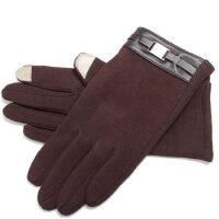 男士触屏手套短款格子手套加绒保暖骑车防风开车分指手套