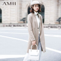Amii[极简主义]冬新立领斜门襟拉链中长羊毛毛呢外套11571976