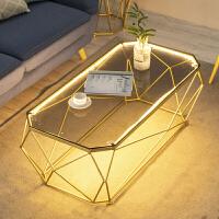 客厅长方形钢化玻璃桌简约现代小户型茶几 北欧时尚灯光艺术创意 整装