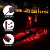 户外夜骑LED高亮车灯单车配件USB充电山地车尾灯警示灯 自行车激光尾灯夜间骑行装备