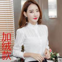 加绒衬衫女长袖户外新品网红同款新款韩范立领纯棉白色衬衣女加厚打底上衣