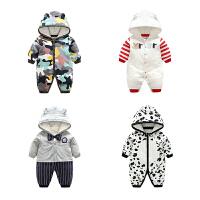 20180427022916408男婴儿连体衣服加厚新生儿宝宝外出冬季6新年冬装3套装棉衣0个月1