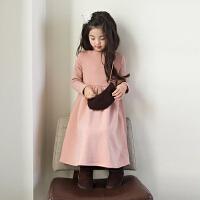 女童连衣裙冬季2017新款长袖加绒加厚打底裙中大童儿童长裙公主裙