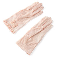 防紫外线女款汽车护袖子蕾丝手套薄蝴蝶结防晒手套女夏薄短