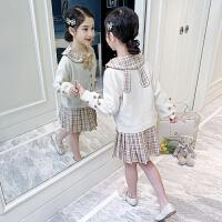 女童套装春装洋气小女孩针织衫外套格子连衣裙儿童两件套