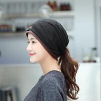 帽子女秋冬包头帽时尚头巾帽多用围脖睡帽韩版潮双层月子帽套头帽
