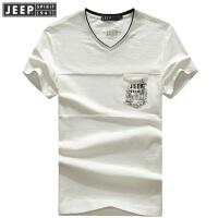 JEEP吉普短袖T恤男2018夏季新款V领t恤中青年男士时尚休闲拼接打底衫