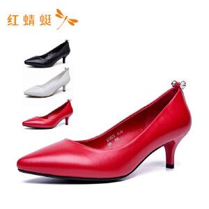 【专柜正品】红蜻蜓女鞋时尚装饰纯色中跟细跟女单鞋