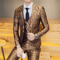 人西装男套装青年修身韩版小西装三件套男士夜店帅气西服