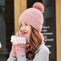 户外加厚保暖骑车防寒帽子女 韩版毛线帽加绒百搭针织帽围脖手套一体三件套帽子
