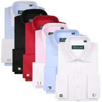 pauljones保罗琼诗新款纯色法式商务休闲男士衬衫