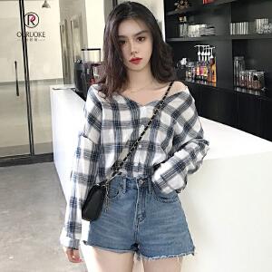 欧若珂  2018秋季韩版新款宽松显瘦百搭V领格子衬衣长袖衬衫女