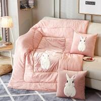 可爱兔子抱枕被子两用加厚冬季汽车办公室折叠靠垫午休睡被毛绒毯