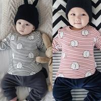 0-3-6-9-12个月婴儿冬季上衣5加绒保暖内衣冬装打底新生儿宝宝T恤