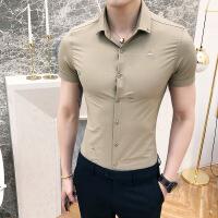 男士短袖衬衫男韩版修身帅气上衣服夏季2018新款青年休闲寸衫