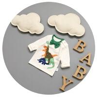 婴儿长袖T恤春秋纯棉宝宝新生儿上衣男宝宝衣服3-6-9个月打底衫潮