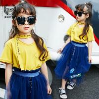 女童打底衫2017夏装新款童装韩版儿童字母领带短袖纯棉T恤上衣潮