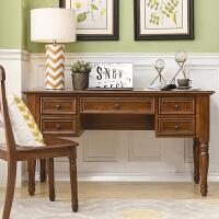 极有家全实木美式乡村书桌书架复古写字台电脑桌美式家具 否