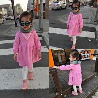 2016冬装新款童装韩版女童加绒连衣裙婴幼儿宝宝粉色公主裙