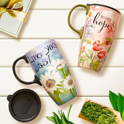 Evergreen爱屋格林马克杯创意水杯子带盖大容量咖啡杯车载陶瓷杯美式花色 手绘杯柄 推盖设计 大容量美式花色 手绘杯柄 推盖设计 大容量