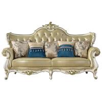 欧式真皮沙发新美式轻奢实木123组合简欧样板房客厅皮艺家具 组合
