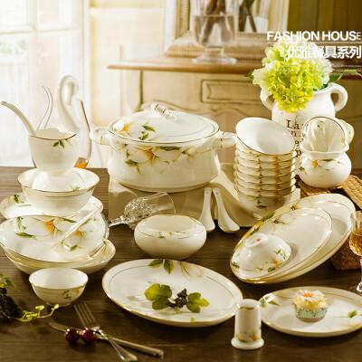 创意欧式金边餐具陶瓷碗盘子套装 健康家用骨瓷碗盘碗勺碗碟60件 高温烧制 三次成型 手工描金 破损包赔