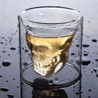 啤酒杯扎啤杯防烫双层玻璃杯 耐热玻璃水晶骷髅红酒杯夜店烈酒杯海盗杯子水杯