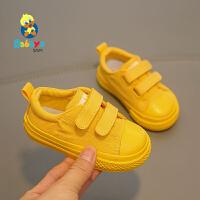 芭芭鸭宝宝鞋1-3岁儿童帆布鞋女童小黑鞋男童板鞋学步鞋2020春新