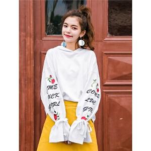 七格格白色连帽卫衣女装2018新款春装季宽松韩版学生潮长袖刺绣chic薄款