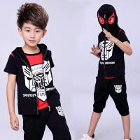 蜘蛛侠蝙蝠侠超人男生的衣服T恤夏短袖幼儿园三件套装潮衣