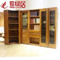 现代全实木胡桃木书柜书架转角书柜自由组合 带门书橱书柜