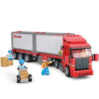 【当当自营】小鲁班模拟城市系列儿童益智拼装积木玩具 两厢式双驱货运车M38-B0338