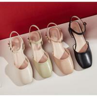 达芙妮包头女鞋2020年新款夏时尚休闲防滑高跟英伦风包头凉鞋女