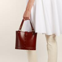 包包女冬季新款小众设计潮流原宿复古水桶百搭手拎单肩斜挎包 深棕色
