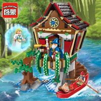 一号玩具 启蒙乐高式积木拼装小颗粒拼插模型男孩益智玩具海盗系列魔法师小屋1309