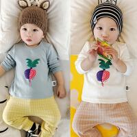婴儿上衣春秋季宝宝长袖T恤衫0-1岁新生儿男女套头衫3-6-9-12个月