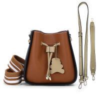 简约女包单肩包手提两件套撞色多用宽肩带水桶包拼色斜挎包小包包