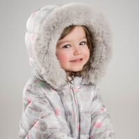 戴维贝拉冬季棉衣 女童抓绒圆点印花棉衣DBJ6695