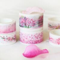 彩色手账贴纸小清新手绘花瓣富士山和纸装饰日记创意樱花手帐胶带