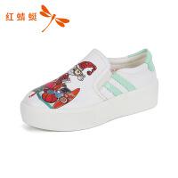 红蜻蜓女鞋春季新款乐福鞋涂鸦图案套脚圆头百搭女休闲鞋