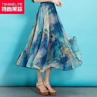特尚莱菲 半身裙雪纺裙夏季女仙女裙沙滩裙大摆印花长裙显瘦半裙子 QQGA618