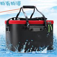 钓鱼桶 新款增氧折叠EVA防水钓箱多功能水桶水箱一体成型便携装鱼箱子户外渔具钓鱼用品