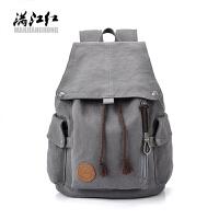 韩版男士背包休闲双肩包男时尚帆布男包旅行包潮流学生书包电脑包
