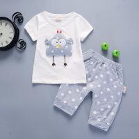宝宝夏装男0-1-2-3-4岁潮 女童背心套装婴儿童夏天衣服棉两件套 白色 斑点鸡