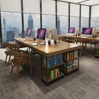 实木办公桌椅组合职员电脑桌工位卡座办公室家具4人位8人员工作台